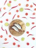 在石灰中的短的鲭鱼 免版税图库摄影