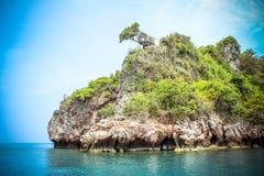 在石灰石峭壁的小屋在安达曼海 免版税库存图片