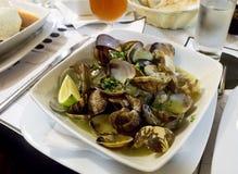 在石灰黄油调味汁的被蒸的蛤蜊 免版税库存照片
