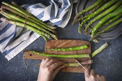 在石背景的新鲜的未加工的芦笋 妇女女性手切了在烹调委员会的芦笋 免版税库存照片