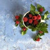 在石背景的新鲜,甜莓果 免版税库存图片