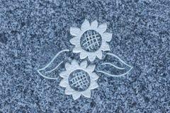 在石表面热爱的向日葵对上帝 免版税库存照片