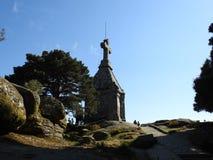 在石头做的老cruceiro 免版税库存照片