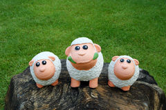 在石头的三只绵羊 免版税库存照片