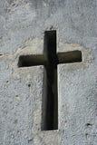 在石头的十字形的窗口 库存图片