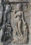 在石头的印地安艺术,埃洛拉石窟 免版税库存照片