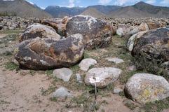 在石头的古老刻在岩石上的文字 图库摄影