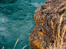 在石头的秋天颜色在育空河,加拿大附近 免版税库存图片