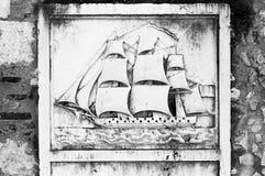 在石头的高船 库存图片