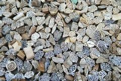 在石头铭刻的艺术性的模子片断被显示在Gadisar湖附近 免版税库存图片