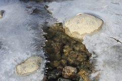 在石头附近的冰 免版税库存图片