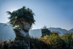 在石头附近的夷陵,湖北长江三峡Dengying空白 免版税库存照片