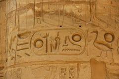 在石头雕刻的古老埃及象形文字 法老王的名字漩涡花饰的 库存图片