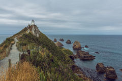 在矿块点新西兰的灯塔 库存图片