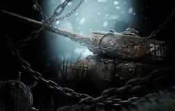 在矿附近的凹下去的坦克 库存图片