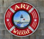 在码头标志的艺术在纽波特罗德岛州 免版税库存照片
