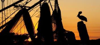 在码头的日落 图库摄影