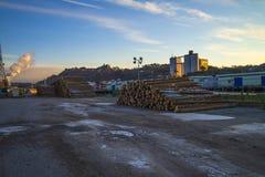 在码头的木材在端口halden 库存图片