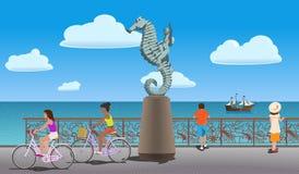 在码头的步行 免版税库存图片