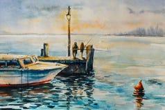 在码头的钓鱼 免版税库存照片