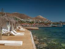 在码头,土耳其的豪华风雨棚 免版税库存图片