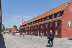 在码头,Kastel被加强的城堡旁边的2018年7月8日- Kastellet -哥本哈根被加强的城堡的看法-丹麦  库存照片
