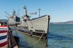 在码头39附近的水下USS Pampanito在旧金山,加利福尼亚,美国 免版税库存照片