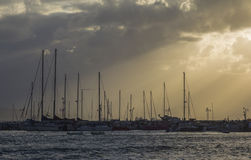 在码头2的游艇 免版税库存图片