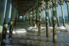 在码头下的波浪 图库摄影