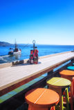 在码头的午餐 库存照片