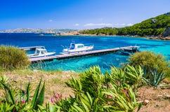 在码头的小船在鲜绿色地中海浇灌,马达莱纳半岛海岛,撒丁岛,意大利海岸  免版税图库摄影