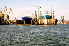 在码头的小船 库存照片