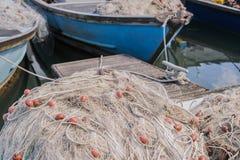 在码头的捕鱼网 库存照片