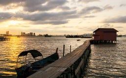 在码头的日出,乔治城,槟榔岛,马来西亚 库存图片