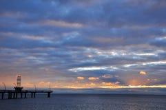 在码头的日出 免版税库存照片