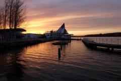 在码头的日落 库存照片