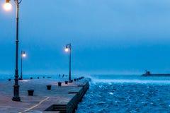 在码头的有风下午 图库摄影
