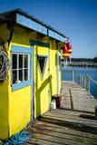 在码头的龙虾棚子 库存图片