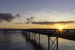 在码头的黎明 库存照片