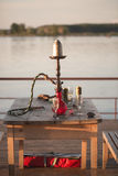 在码头的水烟筒 免版税库存照片