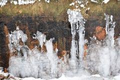 在砂岩结冰的冰 免版税库存图片
