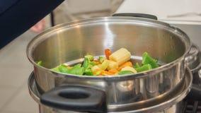 在砂锅的新鲜蔬菜 库存照片