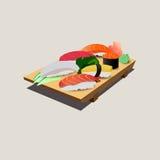 在砍木头的新鲜的三文鱼和寿司日本食物 库存照片