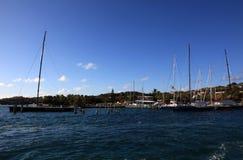 在研磨器海湾的风船在圣托马斯 免版税库存照片
