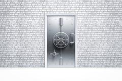 在砖墙上的住家安全安全门 免版税图库摄影