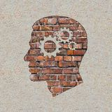 在砖墙上的心理概念。 库存图片