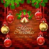 在砖墙上的红色和金黄圣诞节球 向量例证