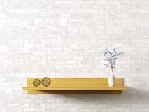 在砖墙内部背景3d翻译的木架子 皇族释放例证