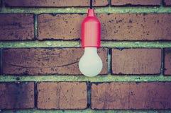 在砖墙前面的电灯泡 库存照片
