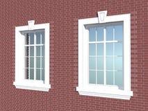 在砖墙的两个窗口 库存图片